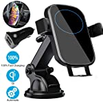 Wireless Car Charger Mount, BOBOLONG Qi Automatic Clamping Air Vent Dashboard Car Phone Holder & QC 3.0 Car Charger, 10W...