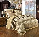 shinemoon Home Hotel Satin Luxus Jacquard Bettbezug/Steppdecke Bezug und Bettlaken Set Double King Size Blumen Schlafzimmer Betten-Set, Color #3, King Size(4PCS/Set)