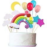 Zonon Cupcake Topper Set, Incluye Rainbow Cloud Moon Star Globo Forma Cupcake Topper Palillos para cumpleaños Decoración de l