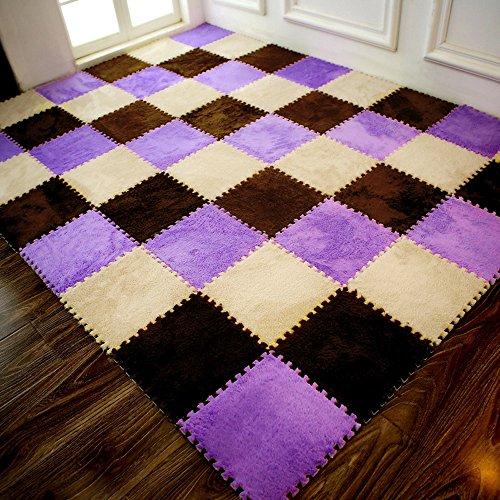 Teppich sunnymi 30*30cm Quadratnähte Kaschmir,Baby Neue Eco Boden Puzzle Mat,Kinder Matt Bad Mat (E, 25X25x1cm)