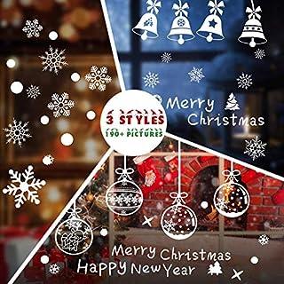 Hommie Stickers Noël Vitrine Autocollants pour Fenêtre/Magasin Decoration de Noël/Fête Amovibles Santa Claus Statiques en PVC, 3 Types de modèles différents