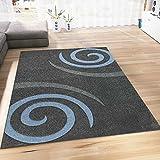 Teppich Modern Wohnzimmer Teppiche in Blau Grau Kreisel Muster Handgeschnittene Konturen Pflegeleicht 160x230 cm