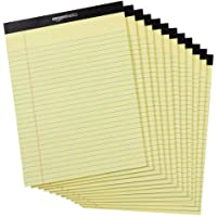 AmazonBasics Legal/Wide Ruled Pad (12 pack, 50 sheets per pad) 222 GSM, 8.5 inches X 11.75 inches - Yellow