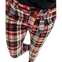 Pantalones de Cuadros Escoceses para Mujer Invierno Otoño PAOLIAN Pantalón  Lápiz Alta Cintura Vestir Tallas Grandes ce33bba3be00