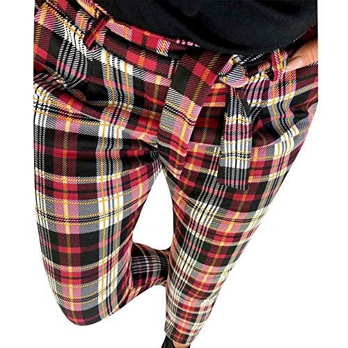 Pantalones de Cuadros Escoceses para Mujer Invierno Otoño PAOLIAN Pantalón Lápiz Alta Cintura Vestir Tallas Grandes Pantalones Elásticos con Cinturón Cintura Alta Slim