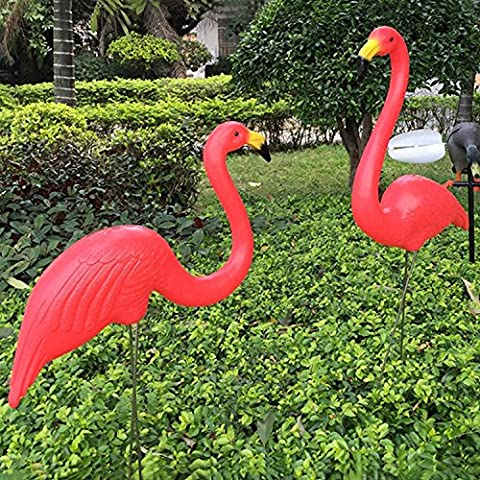 Gorgebuy Pair of Red Lawn Pond Flamingo Plastic Garden Party Ornaments Decor.