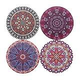 LAZARAH® Design Untersetzer Set für Gläser, Tassen, Vasen, saugfähige Keramik mit Korkrücken, Boho, Mandala, orientalischer marokkanischer Stil - 6