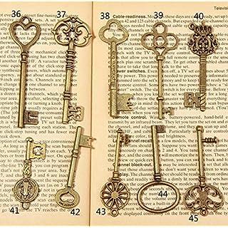 Allbusky Skeleton Antique Keys Charm Vintage Bronze DIY Padlock Old Style Look for Craft Jewellery Making (10 Pack)