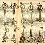 Allbusky Skelett Antik Schlüssel Charme Vintage Bronze DIY Vorhängeschloss Old Style Look für Craft Schmuck (bronze)