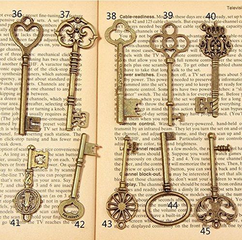 Allbusky Skelett Antik Schlüssel Charme Vintage Bronze DIY Vorhängeschloss Old Style Look für Craft Schmuck (bronze) Vintage Vorhängeschloss