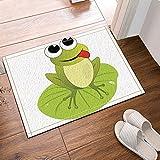 cdhbh The Big Frosch auf Lotus Leaf von Einem Cartoon Tier Bad Teppiche rutschhemmend Boden Eingänge Outdoor Innen vorne Fußmatte, 39,9x 59,9cm Badvorleger Badematte Bad Teppiche