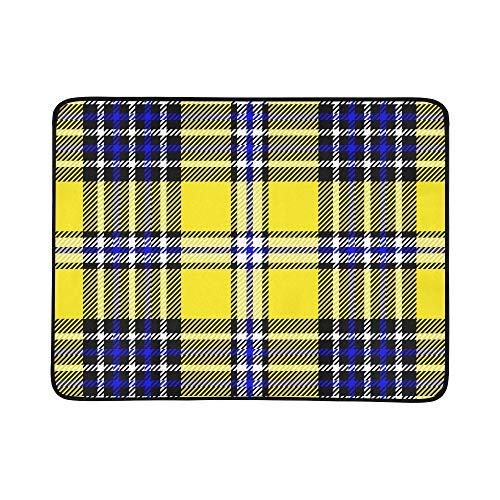 WYYWCY Nette gelbe Gitter Muster tragbare und Faltbare Deckenmatte 60x78 Zoll handliche Matte für Camping Picknick Strand Indoor Outdoor Reise (Plaid Gelb Blazer)
