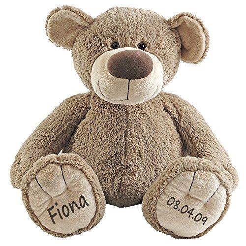 Stofftier Teddy Bär Geschenk mit Namen und Geburtsdatum personalisiert 30cm (Teddy 8 Bär)