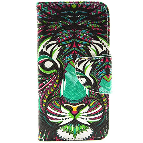Più colorate Ancerson in pelle PU Flip Custodia per cellulare per Apple iPhone 5/5S/5G in pittura ad olio Stil Colorful Painting Custodia Flip Case Custodia in similpelle custodia per cellulare con fu tigre