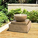 Peaktop Garden Waterfall 2 Tier Outdoor Water Fountain with LED Light, Brown, Polyresin Garden Statue Lights & Water (51.5 x 51.5 x 41.5 cm)