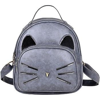 Onemoret mignon Dessin animé de chat Sac à dos Femme en cuir PU Sac à dos  imprimé chat Sac à dos Sacs d école pour adolescents Filles Petit sac à dos  de ... 4496efb6bb5