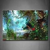 Zwei Pfauen Gehen Im Wald Schön Wandkunst Malerei Das Bild Druck Auf Leinwand Tier Kunstwerk Bilder Für Zuhause Büro Moderne Dekoration