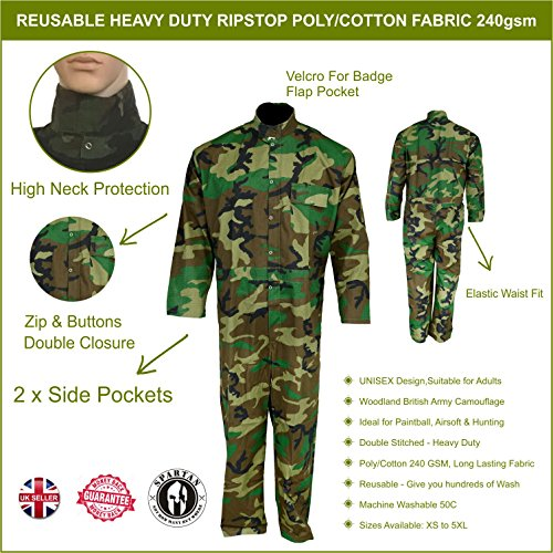 Reusable Camouflage Camo Overall Coverall Boiler Suit Paintball Airsoft Work Wear