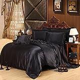 Juego de cama de satén de seda, color liso, incluye 1 funda de edredón, 1 sábana, 1 fundas de almohada, negro, Single: 150x200CM