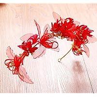 KHSKX-Vestido De Novia Coreana Aro Tocado De Flores Rojas Flor Diadema Accesorios De Boda Brindis Ropa AccesoriosDe Gules
