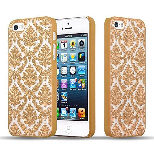 Cadorabo - Mandala Hard Cover Slim Case passend für >          Apple iPhone 5 / 5S / SE          < Paisley Henna Hülle in TRANSPARENT mit SCHWARZ GOLD