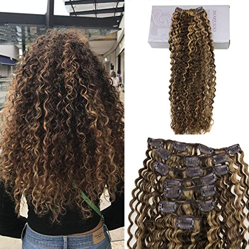 Moresoo brazilian hair extensions capelli veri remy hair marrone marrone #4 con caramello biondo #27 kinky curly clip in extensions 100% capelli umani 24 pollice