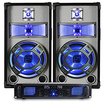 2x Skytec 10 Inch Black/White Speakers + SPL Power Amp + Cables 800W