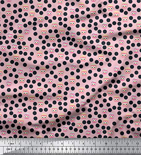 Soimoi 105 GSM Polka Dot Print Poly Satin-Gewebe 44 Zoll breit Material durch Das Meter-Baby-Rosa Rosa Polka-dot Satin