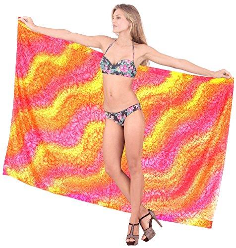 signore mano chiffon gonna a portafoglio onde tie dye bikini hawaiano sarong rosa