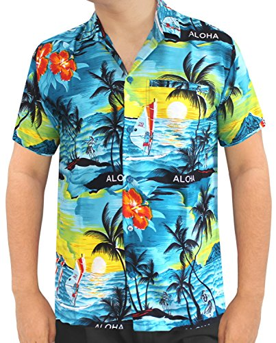 La Leela  Shirt Camisa Hawaiana Hombre XS – 5XL Manga Corta Delante de  Bolsillo Impresión Hawaiana Casual Regular Fit Camisa de Hawaii Azul del  Trullo 1896 ... 55b1635455c6