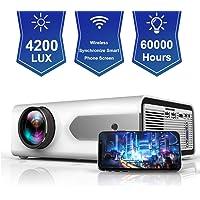 HOLLYWTOP Vidéoprojecteur WiFi Home Cinéma, Mini Vidéo Projecteur de 4200 Lumens Amélioré avec,Retroprojecteur 60000 Heures de Vie LED,mini projecteur des Soutiens 1080P USB/ HDMI/ SD/ AV/ VGA -Blanc