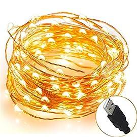 Ghirlanda per esterno sfere luminose LED/ /On//Off automatico/ /Pannello solare alta efficienza/ /Impermeabile IP65/ /Azzurro