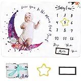 Dsaren Mensile Coperta Milestone Bambino Coperta Fotografia Neonato con Cornice Regalo Per Baby Shower Nuova Mamma (bianca)