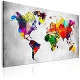 murando - Cuadro 120x80 cm - Mapamundi - Cuadro su lienzo tejido-no tejido - Impresion en calidad fotografica - Mapa del Mundi colorido k-A-0099-b-a