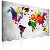 murando - Bilder Weltkarte 120x80 cm - Leinwandbilder - Fertig Aufgespannt - Wandbilder XXL - Kunstdrucke - Wandbild - Weltkarte Karte bunt k-A-0099-b-a