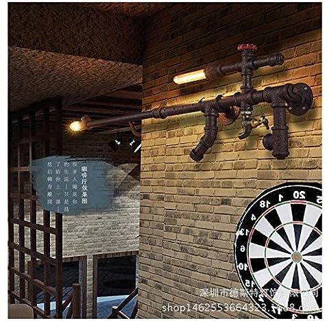 CNMKLM Appliques de country américain vintage tube fer forgé décorent fusil de sniper de personnalité créatrice, café, bar, lumières 750 (mm)