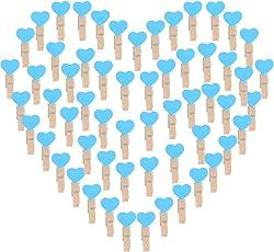 AONER 100 STK Mini Holzklammern Herz Klammern Holz Deko Klein Wäscheklammern Dekoklammern Holzwäscheklammern Zierklammern