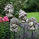 TOM-GARTEN Vier Jahreszeiten Köpfe, inklusive Stäbe zum Aufstecken | bezaubernde Ganzjahresdeko für Ihren Garten | niedliche Skulpturen die für Aufsehen sorgen | wetterfester, englischer Steinguss