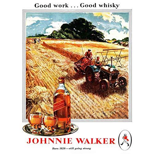 Wee Blue Coo Prints Advert Drink Alcohol Scotch Whisky Farm Crop Tractor 30X40 CMS FINE Art Print Art Poster Werbung Getränk Alkohol SCHOTTE Bauernhof Kunstdruck Blue Getränke