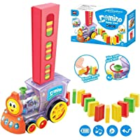 AS Collection Store 60 Pcs Domino Rally Train Toy Set Model with Lights and Sounds Construction Stacking Choo Choo…