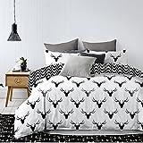 DecoKing biancheria da letto in microfibra con una o due federe, 80 x 80 cm, collezione Hypnosis, con motivo geometrico, Microfibra, schwarz weiß grau, 200 x 220 cm + 50 x 75*2