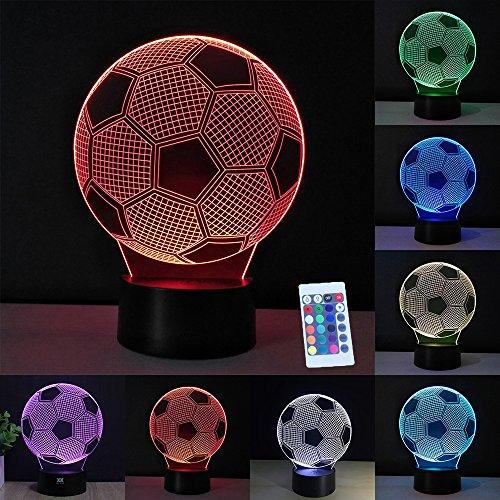 3D Lampe Optische LED Täuschung Nachtlicht,7 Farbwech mit Acryl Flat & ABS Base & USB-Ladegerät ändern Berühren Sie Botton Schreibtisch lampe Tischleuchte (Fußball) (Control-bild-licht Remote)
