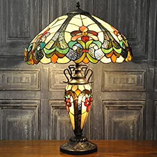 Multicolour Traditional Art Deco Style Double Tiffany Stained Glass Table Lamp 16inch Shade