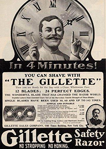 Vintage Friseurladen GILLETTE RAISERKLINGEN von Amerika im Jahr 1906. 250 g/m², glänzend, Kunstdruck, A3, - Gillette-vintage