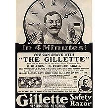 Barbería y Salón de la vendimia Gillette de afeitar de seguridad, 1906, Reproducción sobre Calidad 200gsm de espesor en Cartel A3 Tarjeta Brillante