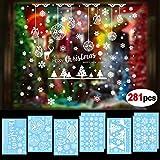 HOWAF 8 Feuilles NoëL Autocollants fenêtre PVC Stickers vitrine Noel Muraux Fenetre Décoration Amovible De Noël Autocollants DéCalcomanie Flocon De Neige Blanche Stickers Deco noël