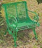 Casa Padrino Gartenstuhl aus Schmiedeeisen mit Krallenfüßen - verschiedene Farben - 65 cm x 60 cm - Luxus Gartenmöbel, Farbe:vintage rot
