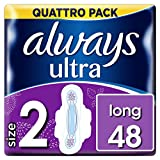 Always Ultra Long Sanitary Towels with Wings 48 Pads Super Absorbent, Neutralises Odours and Ultra Thin, Size 2