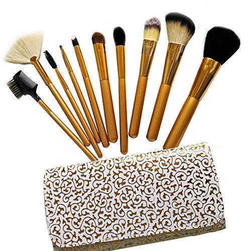 10pcs de pinceaux pour maquillage et cosmétique pour fond de teint, ombre à paupières et Plus brosse à sourcils