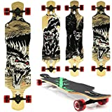 Miganeo Longboard 108x24,5 Long Board Skateboard Surfboard komplett Flex Longboards (105 Horror Alligator)